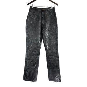 Vintage Navarre Patchwork High Waist Leather Pants